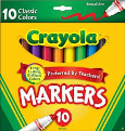 Crayola Markers Broad Assorted Colors 10 Pack