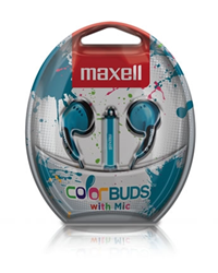 Maxell Earbuds W/ Mic & Remote Blue